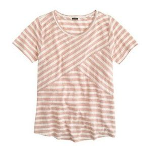 J Crew Cross Stripe Tee Linen Burnout